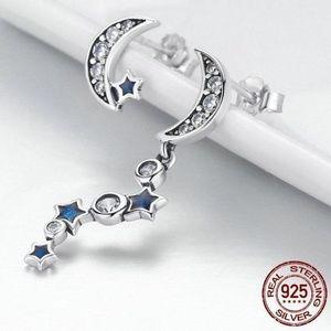Jewelry - New - Moon & Star Asymmetrical Drop Earrings